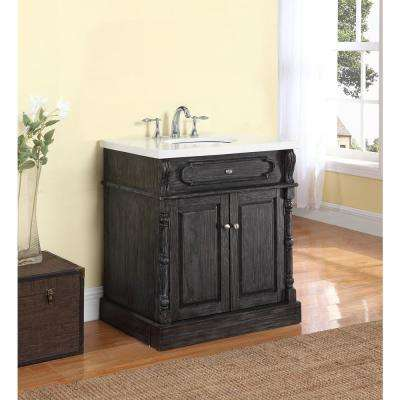 Baymore 30 in. W x 22 in. D Vanity in Distressed Charcoal with Marble Vanity Top in Gray and White with White Basin