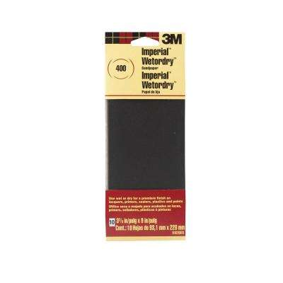 Imperial Wetordry 3-2/3 in. x 9 in. 400 Grit Sandpaper (10-Pack)(Case of 18)