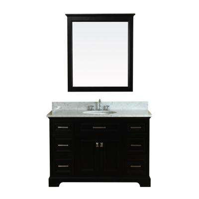Yorkshire 49 in. W x 22 in. D Vanity in Espresso with Marble Vanity Top in White with White Basin and Mirror