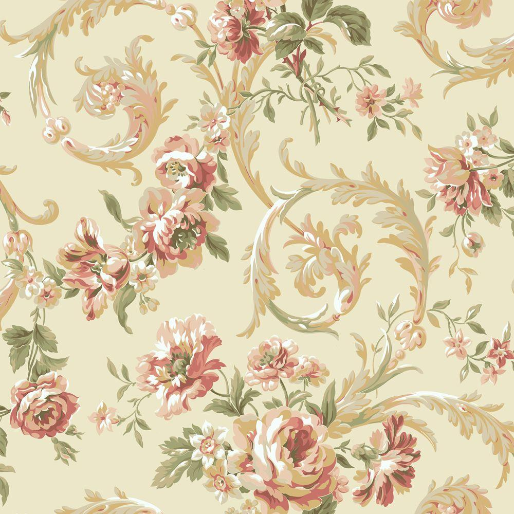 York Wallcoverings 56 sq. ft. Rococco Floral Wallpaper