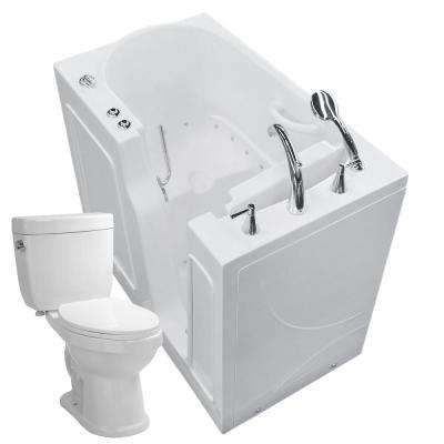 Nova Heated 45.75 in. Walk-In Air Bath Tub in White with 1.6 GPF Single Flush Toilet