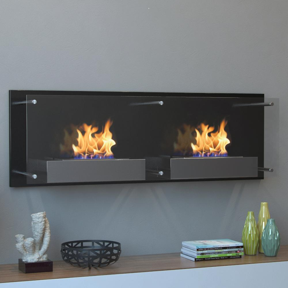 Moda Flame Faro Wall Mounted Ethanol Fireplace in Black provides heat