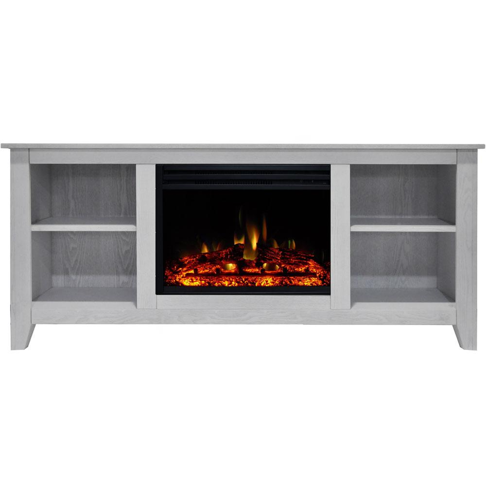Cambridge Santa Monica 63 in. Electric Fireplace Heater TV Stand in White with Enhanced Log Display and Remote
