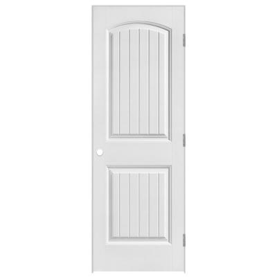 24 in. x 80 in. Cheyenne 2-Panel Camber Top Plank Hollow-Core Smooth Primed Composite Single Prehung Interior Door