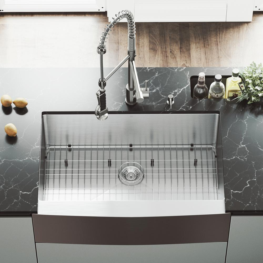 VIGO All-in-One 33 in. Bedford Stainless Steel Single Bowl Farmhouse Kitchen Sink with Pull Down Faucet in Stainless Steel, Satin was $749.9 now $576.9 (23.0% off)