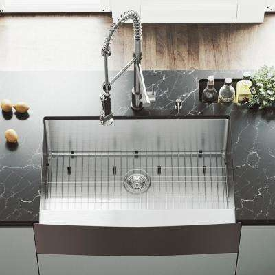 All-in-One Farmhouse Apron Front 33 in. 0-Hole Single Bowl Kitchen Sink and Faucet Set in Stainless Steel