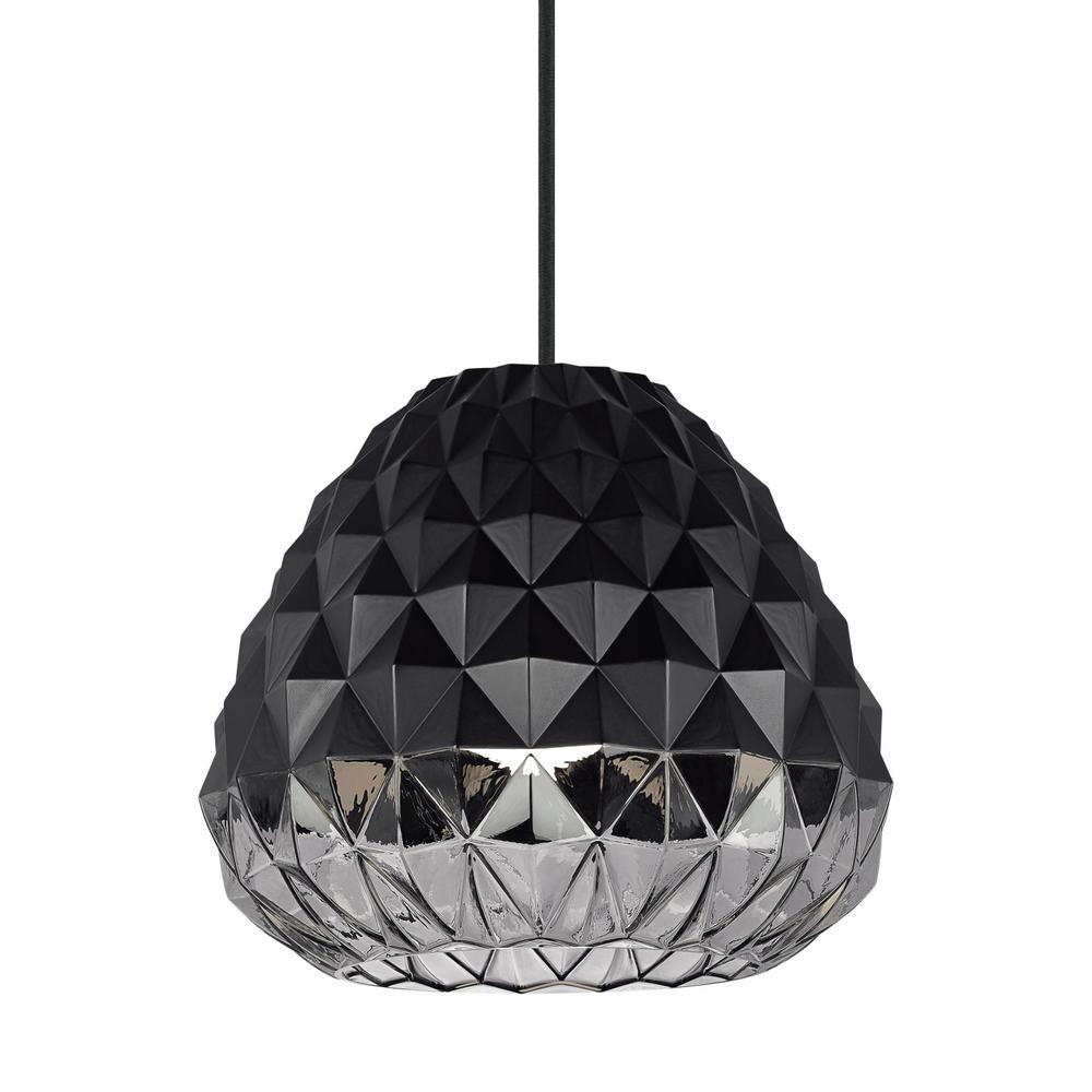 LBL Lighting Facette Grande 15-Watt Black/Smoke Integrated LED Pendant Sophisticated elegance exudes from the Facette Grande pendant light from LBL Lighting. Light flows through hundreds of triangular facets at the bottom of the shade, with the upper portion being purposefully masked with texturized paint to create negative space, depth and dimension.
