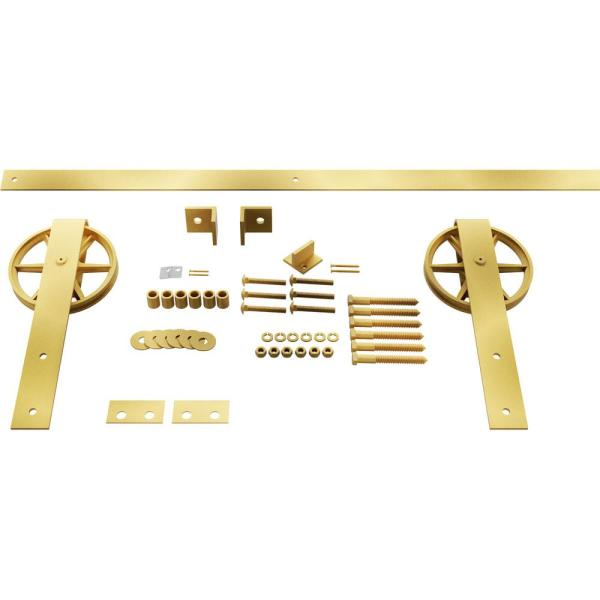 Goldberg Brothers Inc 1 5 8 In X 48 In X 13 5 8 In Steel Premium Wagon Wheel Strap Barn Door Hardware Set Moulding Jacob S Gold Gb600134hwjg The Home Depot