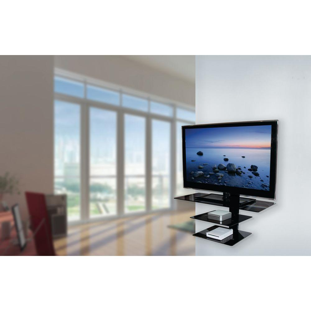 Avf Wall Mounted Tv Stand Gl Shelving System With Safety Straps Gloss Black