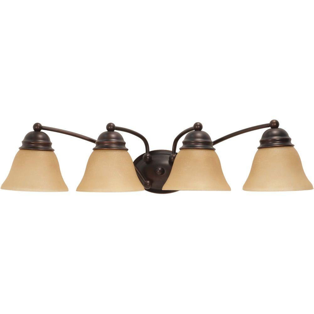 Glomar nuwa 4 light mahogany bronze bath vanity with - Champagne bronze bathroom vanity light ...