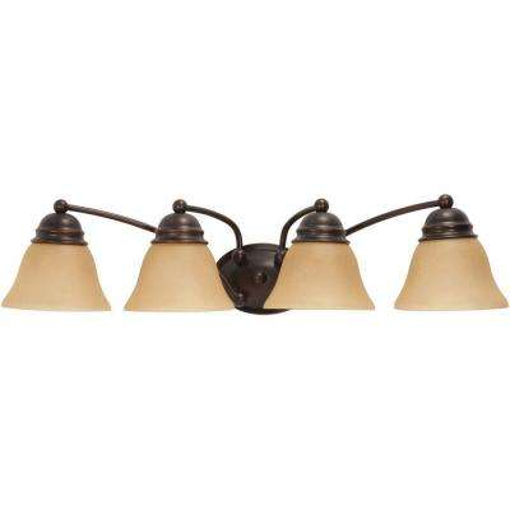 Nuwa 4-Light Mahogany Bronze Bath Vanity with Champagne Linen Washed Glass