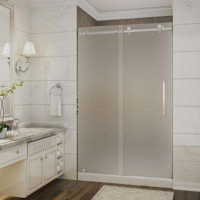 Moselle 48 in. x 36 in. x 77.5 in. Completely Frameless Sliding Shower Door with Frosted in Chrome with Right Base