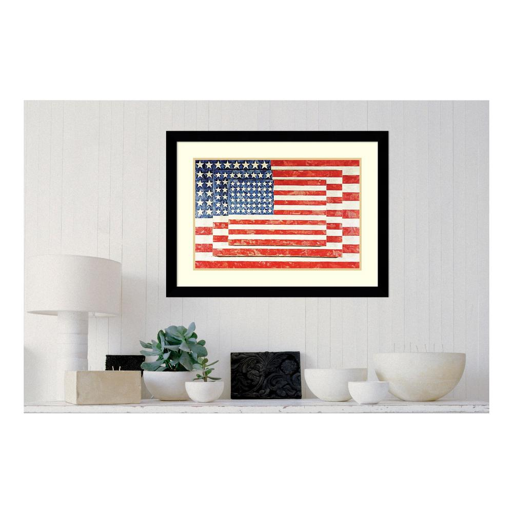 Amanti Art 33 in. W x 25 in. H \'Three Flags\' by Jasper Johns Printed ...
