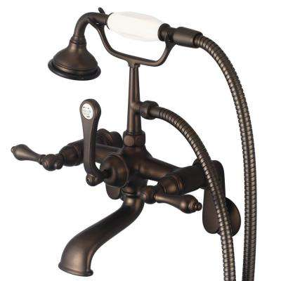 3-Handle Vintage Claw Foot Tub Faucet with Lever Handles and Hand Shower in Oil Rubbed Bronze