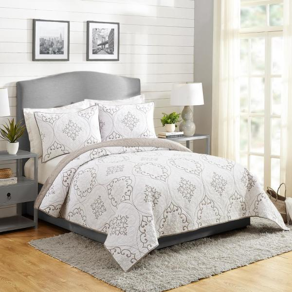 Chambers 3-Piece Gray King Cotton Quilt Set