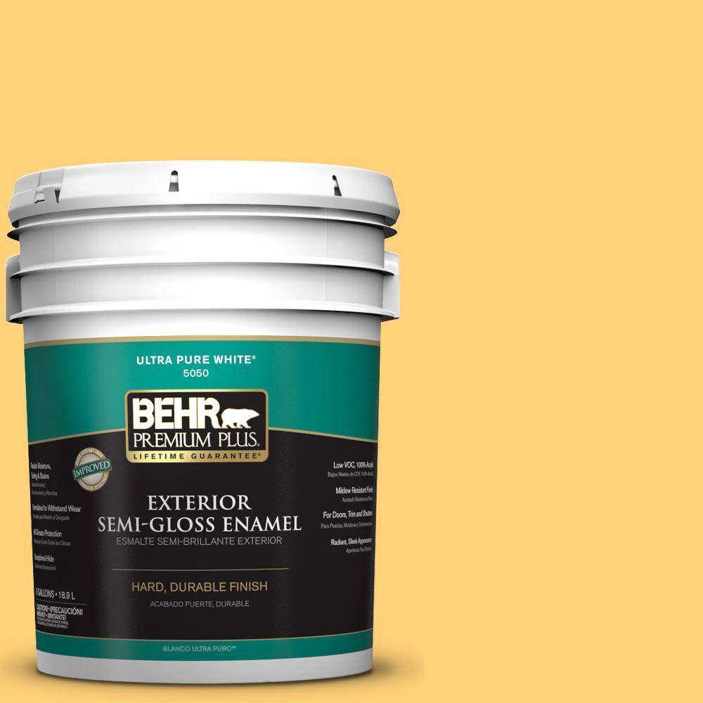 5-gal. #P260-5 Yellow Jubilee Semi-Gloss Enamel Exterior Paint