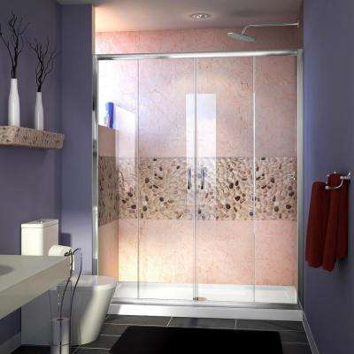 Visions 60 in. W x 30 in. D x 74-3/4 in. H Semi-Frameless Shower Door in Chrome with White Base Center Drain