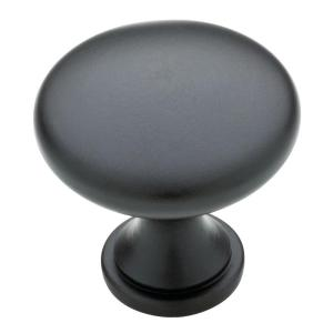 Classic Round 1-1/4 in. (32mm) Flat Black Solid Cabinet Knob (10-Pack)