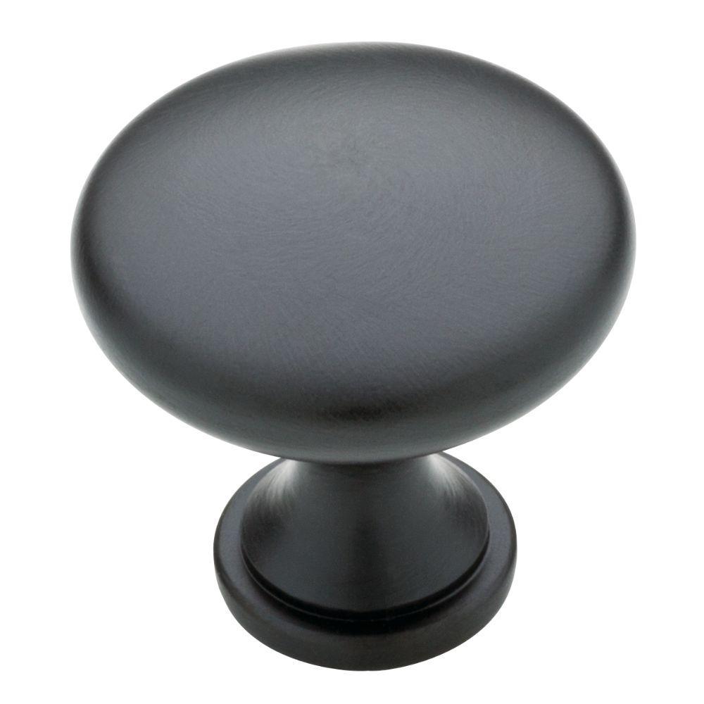 1-3/16 in. Matte Black Garrett Solid Round Cabinet Knob (10-Pack)