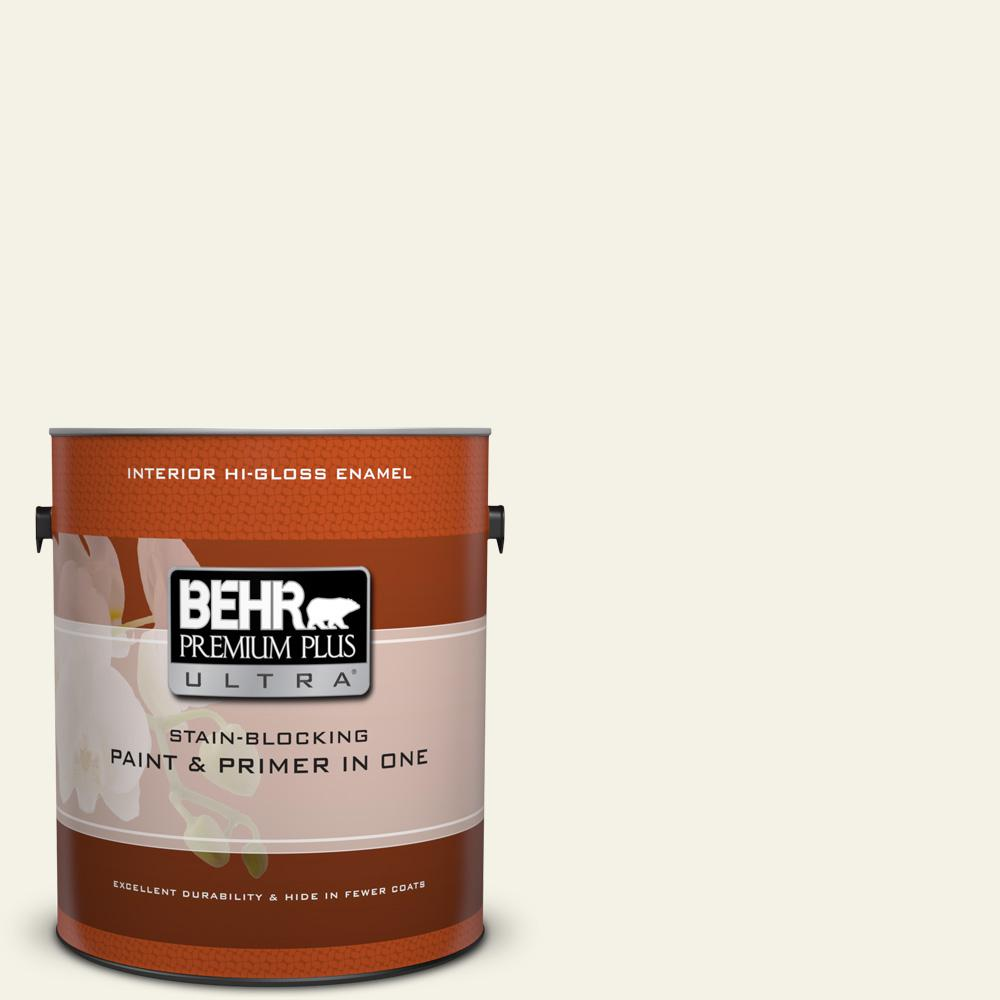 1 gal. #BXC-01 Resort White Hi-Gloss Enamel Interior Paint