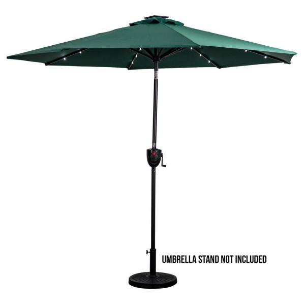 9 ft. Market Round Bluetooth Speaker Solar Lighted Patio Umbrella with Olefin Canopy in Hunter Green