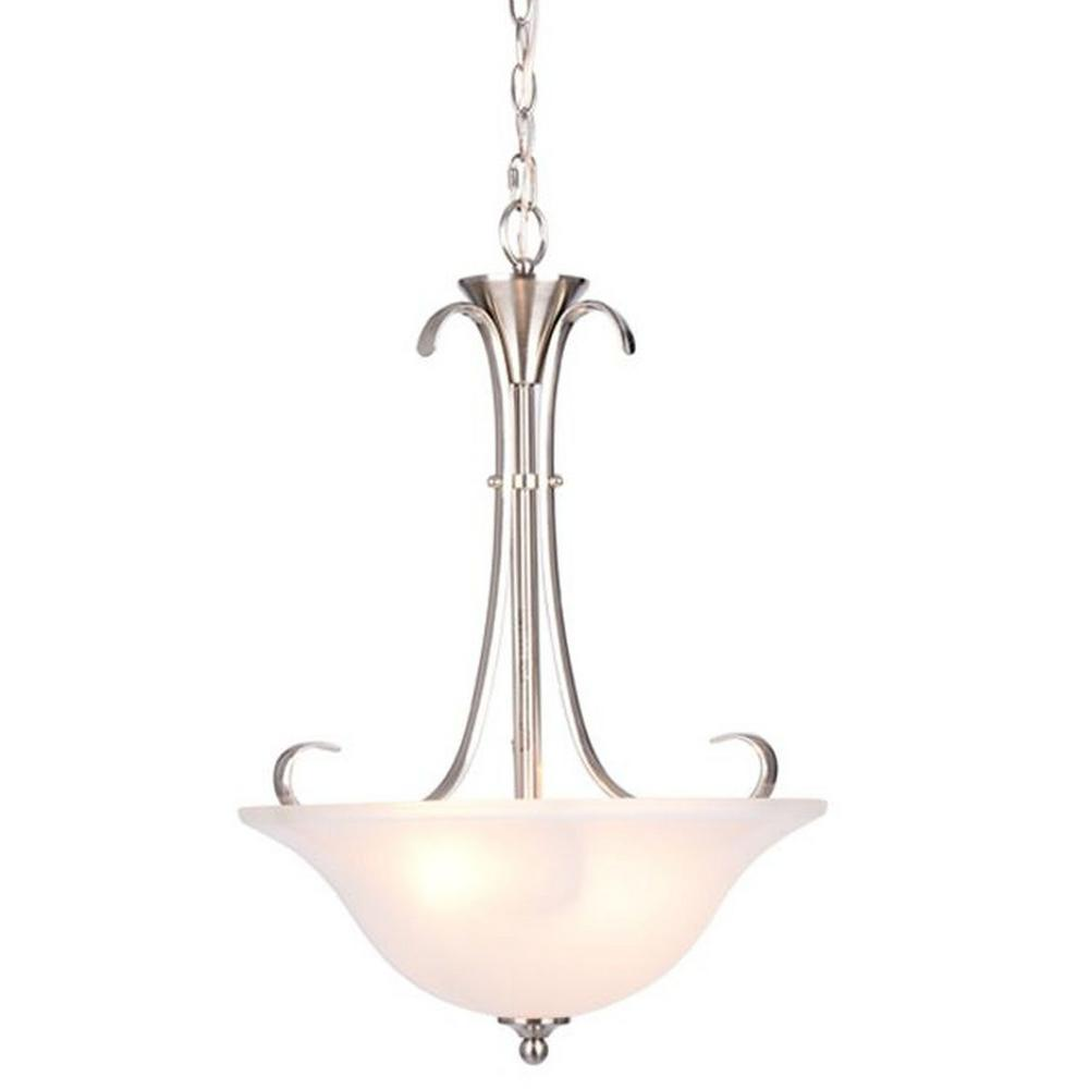 Hampton bay santa rita 2 light brushed nickel inverted pendant with glass shade