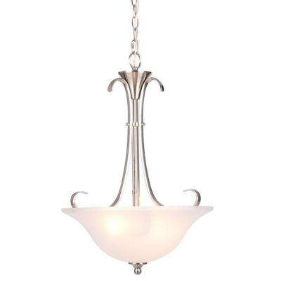 Santa Rita 2-Light Brushed Nickel Inverted Pendant with Glass Shade