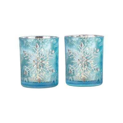 Snowflake 4 in. Antique Azure Art Glass Candle Holders (Set of 2)