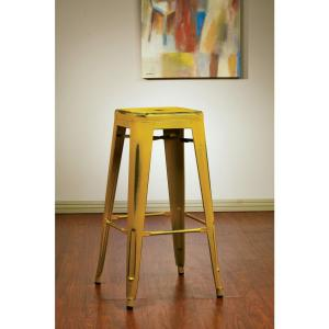 antique yellow bar stool set of 2