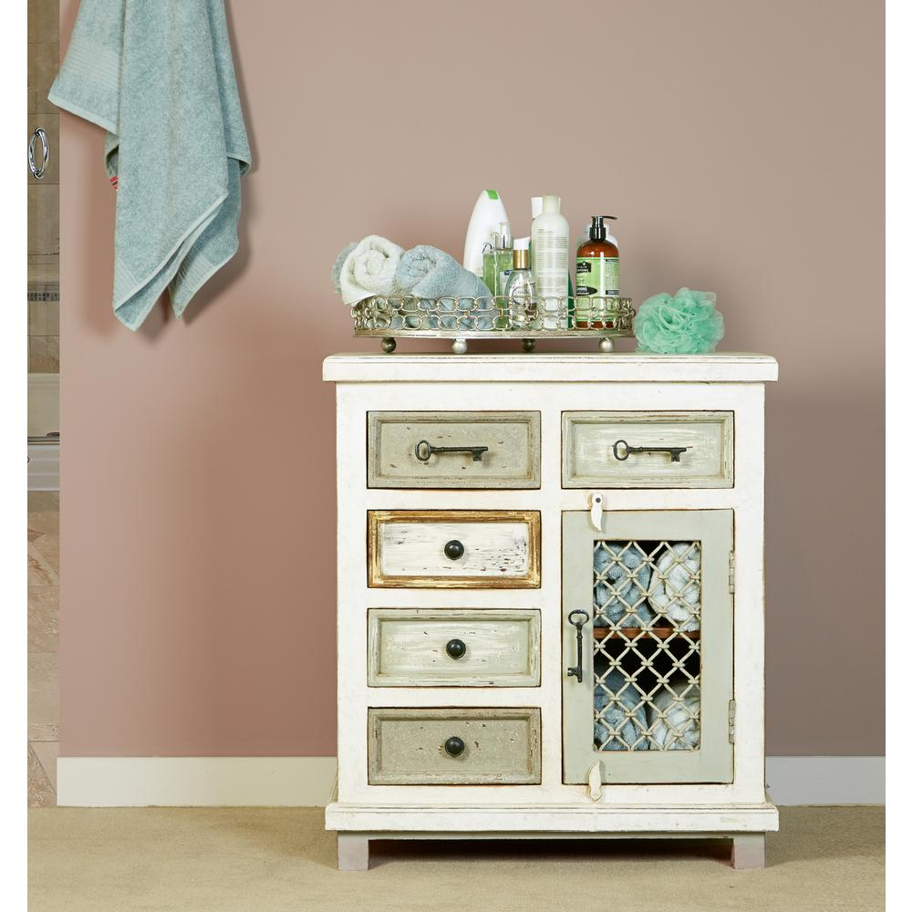 Hilale Furniture Larose Rustic White And Gray Storage Cabinet