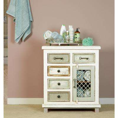 LaRose Rustic White and Gray Storage Cabinet