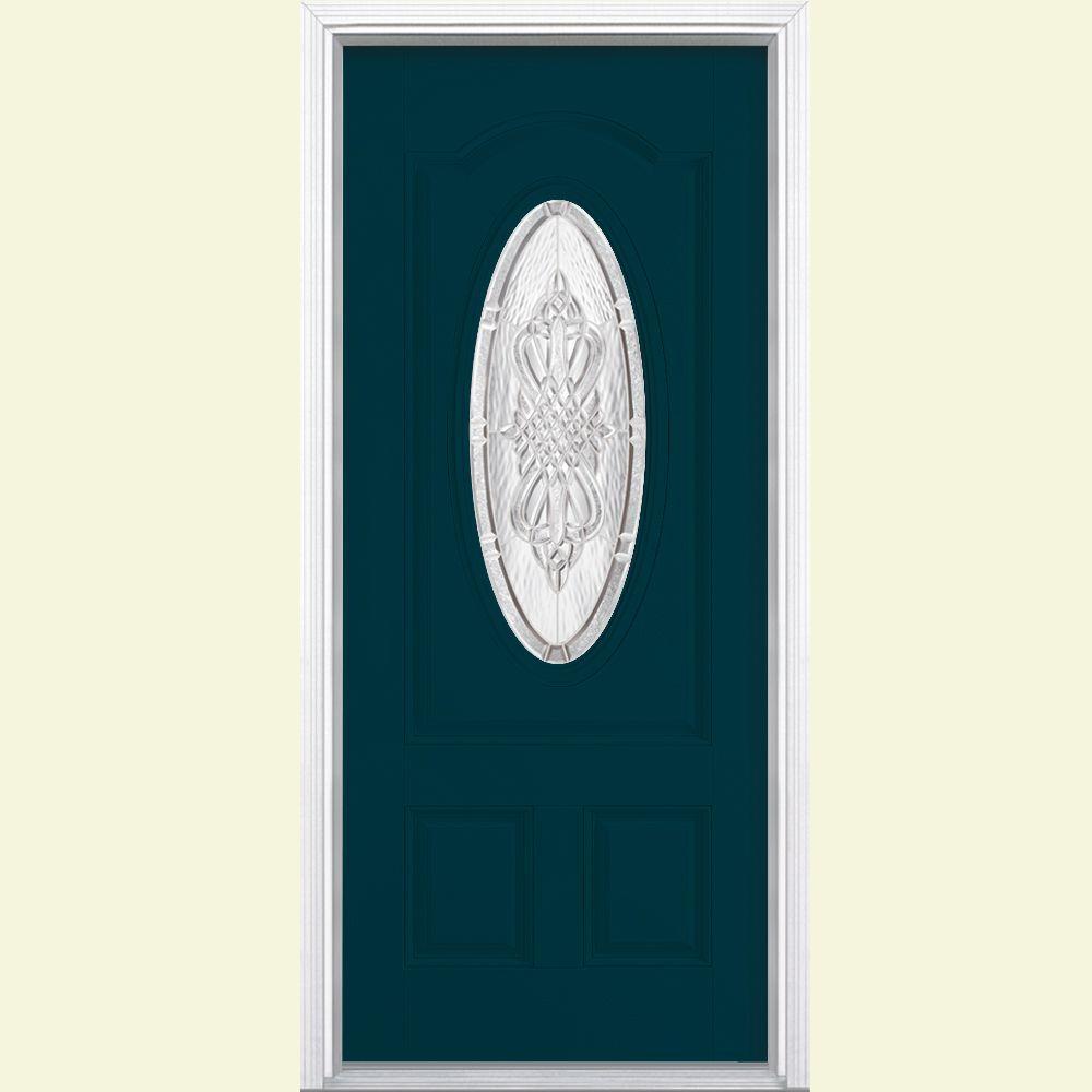 Masonite 36 in. x 80 in. New Haven 3/4 Oval Left Hand Painted Smooth Fiberglass Prehung Front Door w/ Brickmold