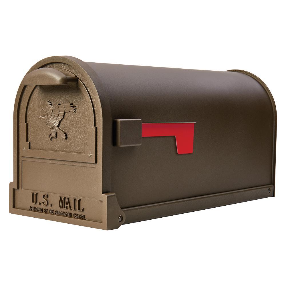 Arlington Large, Steel, Post-Mount Mailbox, Bronze