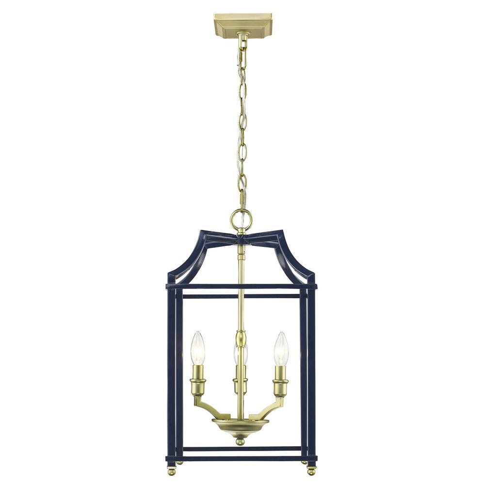 Golden Lighting Leighton 3 Light Satin Br And Navy Blue Pendant