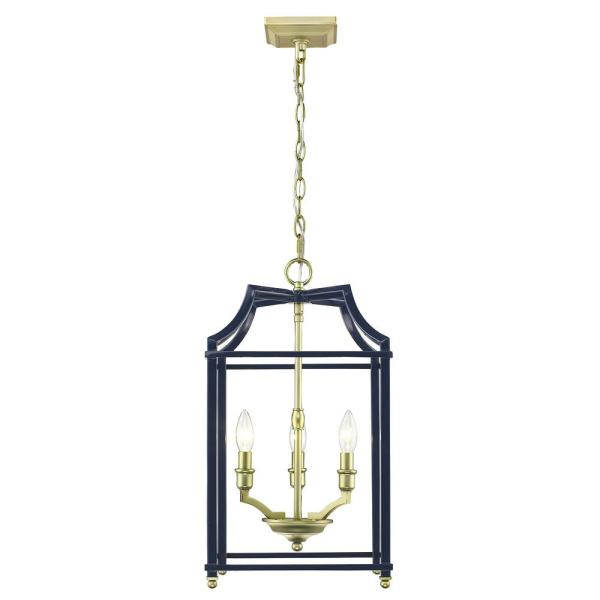 Satin Br And Navy Blue Pendant