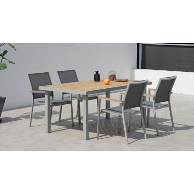 Essence Grey Seagull 5-Piece Aluminum Outdoor Rectangular Dining Set with Sling Set in Pewter