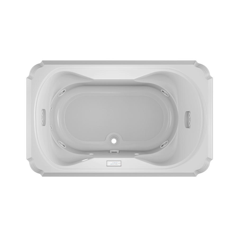 MARINEO 66 in. x 42 in. Acrylic Rectangular Drop-in Center Drain Whirlpool Bathtub Chroma in White