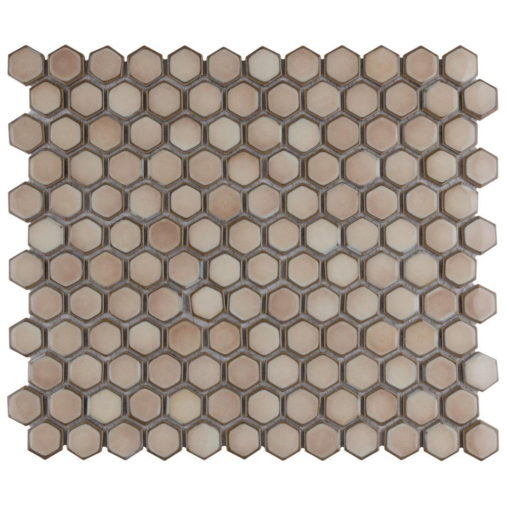 "Hudson 1"" Hex Truffle 13-1/4 in. x 11-7/8 in. Porcelain Mosaic (11.14 sq. ft./Case)"