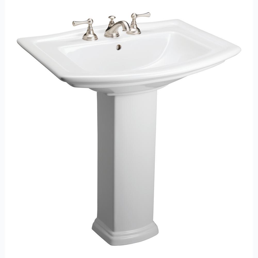 Washington 650 25 in. Pedestal Combo Bathroom Sink in White