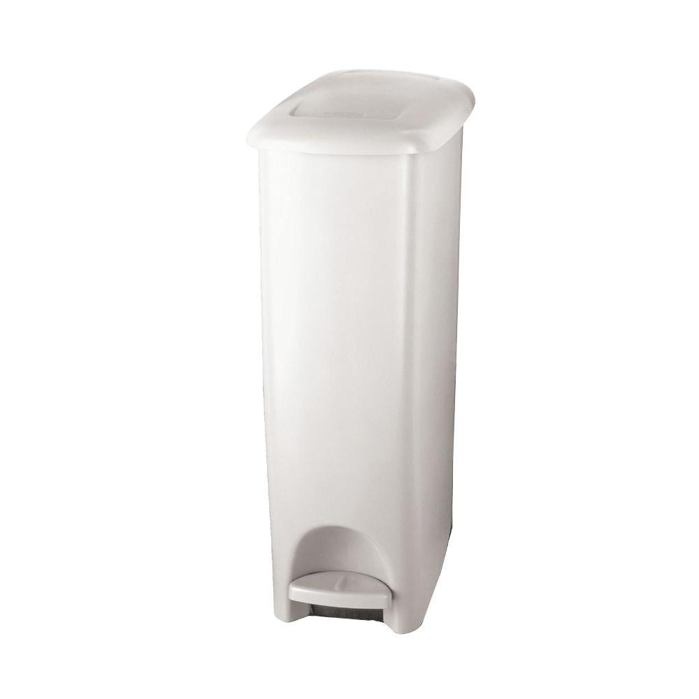 Rubbermaid 11 25 Gal White Slim Fit Step On Trash Can Fg284802wht