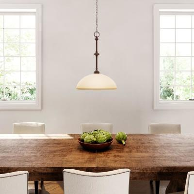 Bristol Collection 1-Light Nutmeg Bronze Pendant with Tea-Stained Glass Shade