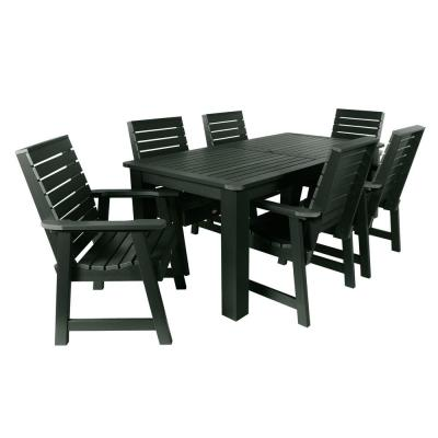 Weatherly Charleston Green 7-Piece Recycled Plastic Rectangular Outdoor Dining Set