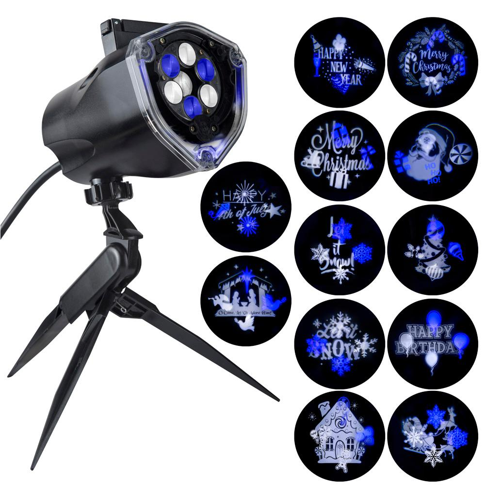 LightShow Blue White LED Whirl-A-Motion and Static Projection Light with 12-Changeble Slides Stake
