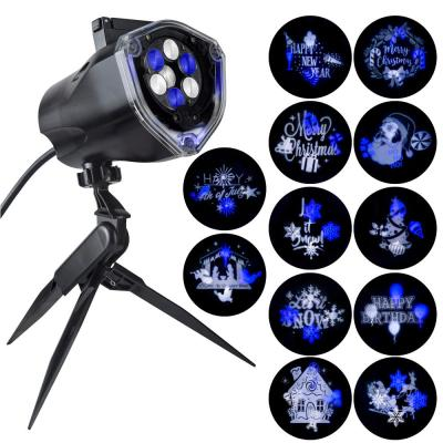 Blue White LED Whirl-A-Motion and Static Projection Light with 12-Changeble Slides Stake