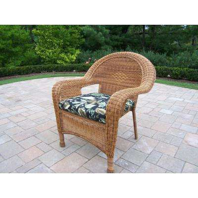 Natural Wicker Outdoor Lounge Chair with Black Floral Cushion