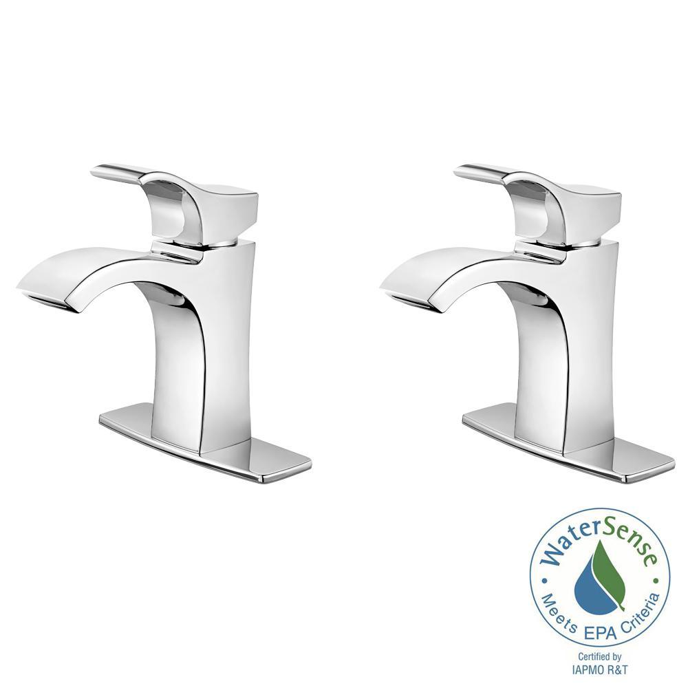 Venturi Single Hole Single-Handle Bathroom Faucet in Polished Chrome (2-Pack Combo)