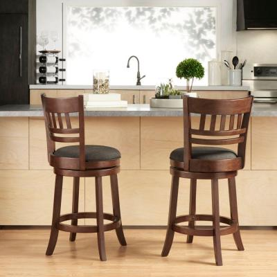 24 in. Morris Cherry Swivel Cushioned Bar Stool