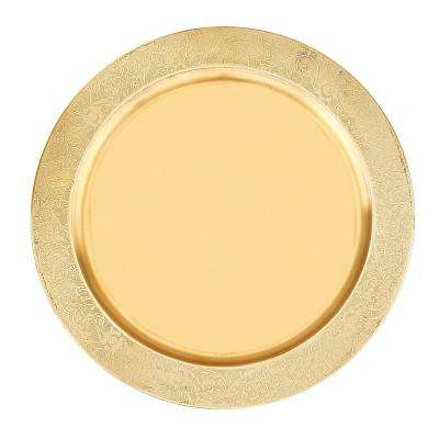 13 in. Decor Champagne Etched Rim Charger Plate (Set of 6)