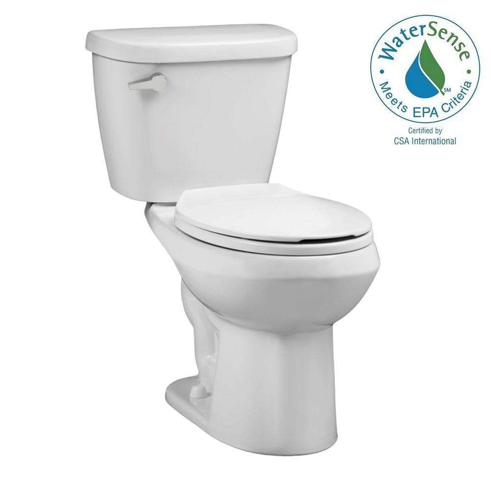 American Standard Renaissance WaterWarden Toilet-To-Go Tall Height 2-piece 1.28 GPF Round Toilet in White, Seat Included
