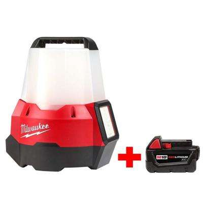 M18 18-Volt Cordless 2200-Lumen Radius LED Compact Site Light with Flood Mode (Tool-Only) with Free M18 3.0Ah Battery